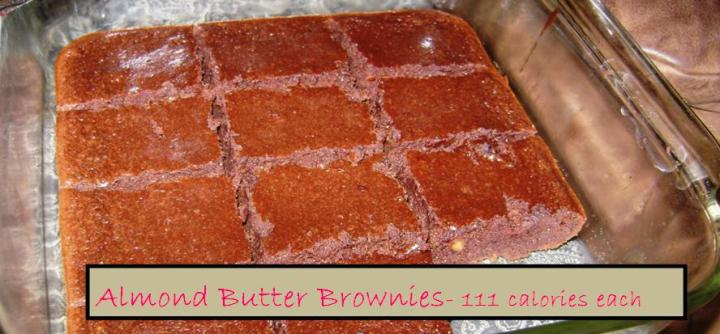 Almond butter brownies with label