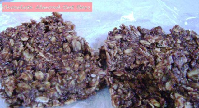 choc almond oat bars pic with label